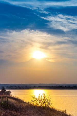 dniepr: Summer sunset on the riverbank. City bridges over the river Dniepr. Kaniv. Ukraine. Stock Photo