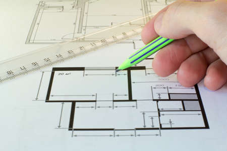 home addition: drawing of the floor plan for the building