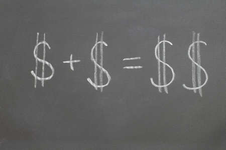 augmentation: chalkboard with the words dollar plus dollar equals two dollars