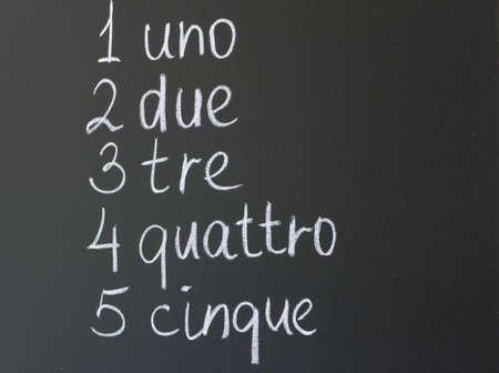 uno: inscription in chalk on a blackboard - the name of the numbers Stock Photo