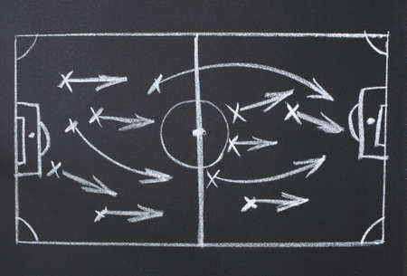 drawing a soccer game strategy on the chalk on a blackboard photo