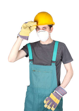 working professional with tools on a white background Stock Photo