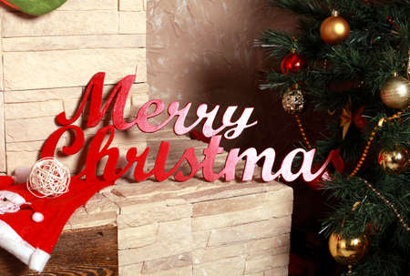 mantel: inscription letters on the mantel Merry Christmas Stock Photo