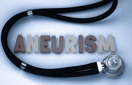aneurism: word aneurism and stethoscope