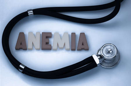 anemia: word anemia and stethoscope