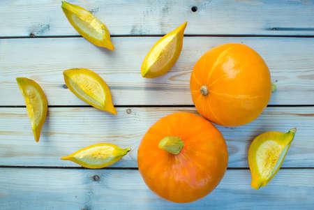 quartered: Concept autumn harvest Pumpkin sliced. Selective Focus