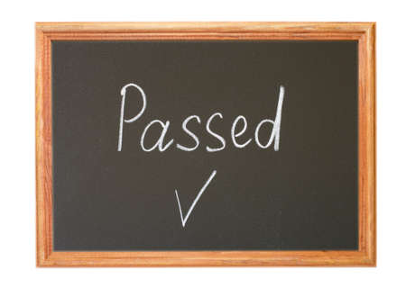 validated: Written in white chalk on a blackboard - passed