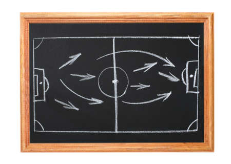 Image in white chalk on a blackboard - playbook and football
