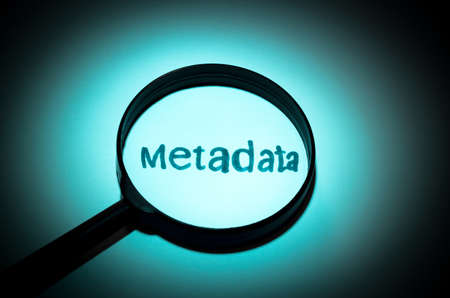 metadata: Concept search loupe magnifier metadata button Stock Photo