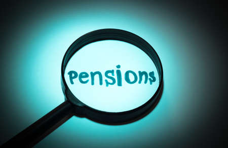 pensions: Concept search loupe magnifier pensions button