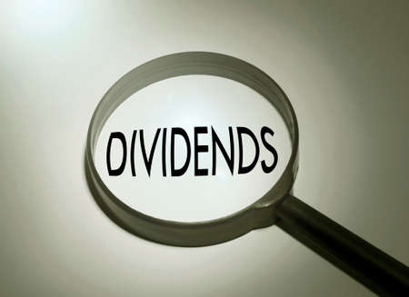 dividends: Magnifying glass with the word dividends. Searching dividends