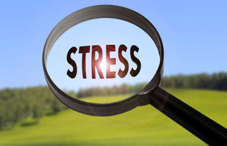 stressing: Magnifying glass with the word stress on blurred nature background. Searching stress concept