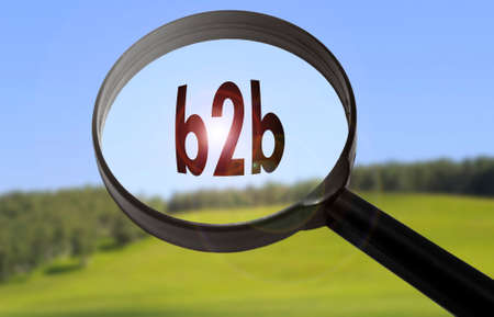b2b: Magnifying glass with the word b2b on blurred nature background. Searching b2b concept Foto de archivo
