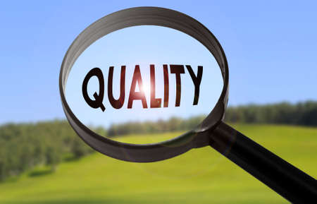 Magnifying glass with the word quality on blurred nature background. Searching quality concept