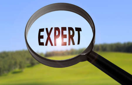 warranty questions: Magnifying glass with the word expert on blurred nature background. Searching expert concept Stock Photo