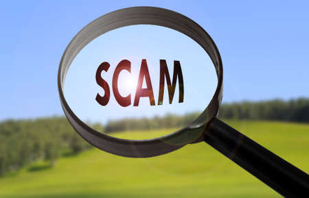 scamming: Magnifying glass with the word scam on blurred nature background. Searching scam concept