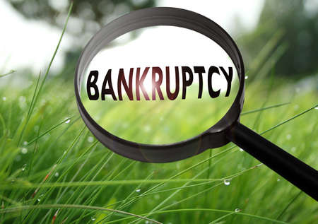 Magnifying glass with the word bankruptcy on grass background. Selective focus