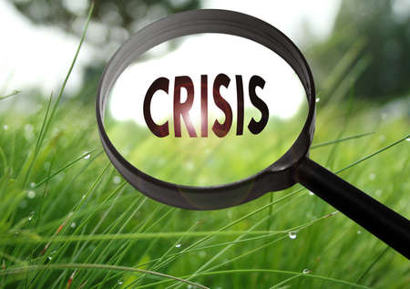 Magnifying glass with the word crisis on grass background. Selective focus