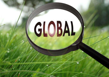 Magnifying glass with the word global on grass background. Selective focus