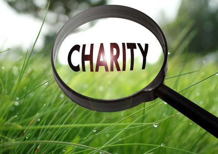 conscience: Magnifying glass with the word charity on grass background. Selective focus