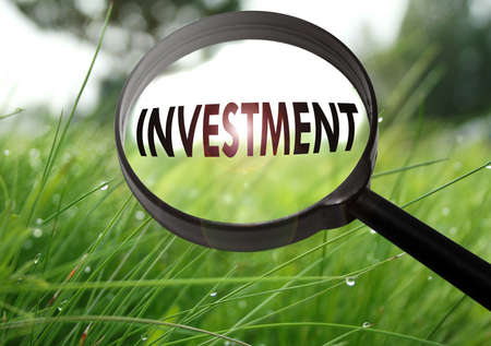 Magnifying glass with the word investment on grass background. Selective focus Stock Photo