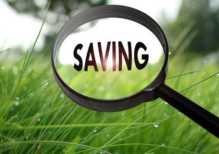dept: Magnifying glass with the word saving on grass background. Selective focus Stock Photo