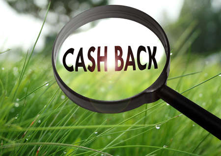 Magnifying glass with the word cash back on grass background. Selective focus