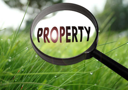Magnifying glass with the word property on grass background. Selective focus