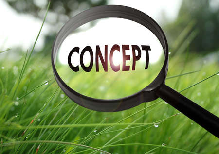 Magnifying glass with the word concept on grass background. Selective focus