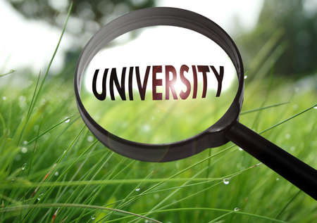 Magnifying glass with the word university on grass background. Selective focus Stock Photo