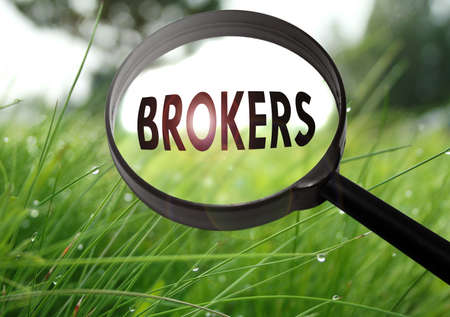 Magnifying glass with the word brokers on grass background. Selective focus