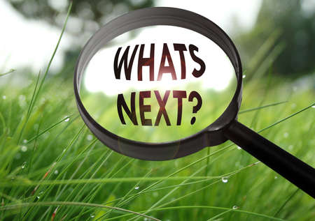 what's ahead: Magnifying glass with the word whats next on grass background. Selective focus