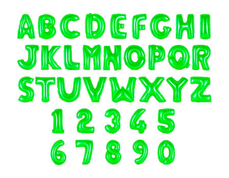 English alphabet and numerals from green, balloons on a white background. holidays and education Stock Photo