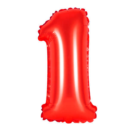 anniversary sale: number 1 (one) of red balloons on a white background. discounts and sales, holidays and education Stock Photo