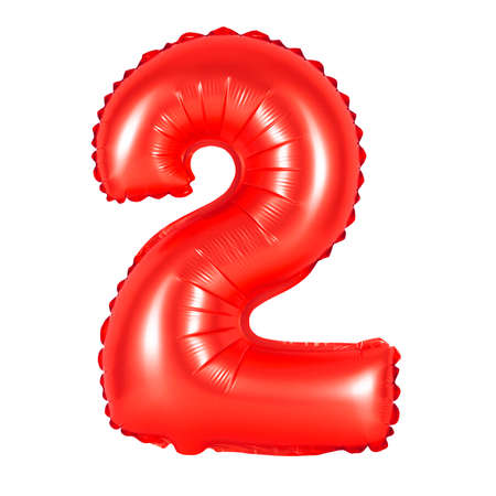 number 2 (two) of red balloons on a white background. discounts and sales, holidays and education
