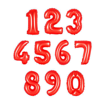 numbers of red color, balloons on a white background. discounts and sales, holidays and education Stock Photo