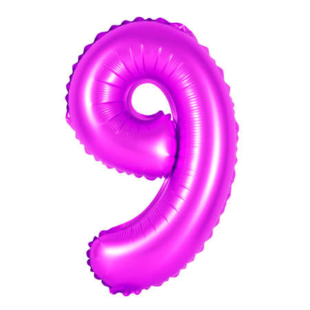 number 9 (nine) of purple balloons on a white background. discounts and sales, holidays and education
