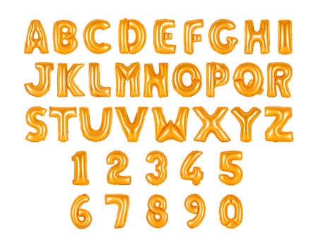 English alphabet and numerals from orange balloons on a white background. holidays and education