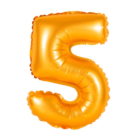 counting five: number 5 (five) of orange balloons on a white background. discounts and sales, holidays and education Stock Photo