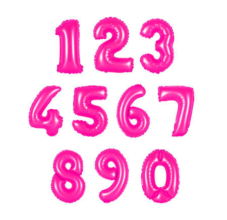 numbers of pink color balloons on a white background. discounts and sales, holidays and education