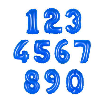 numbers of dark blue color balloons on a white background. discounts and sales, holidays and education Stock Photo
