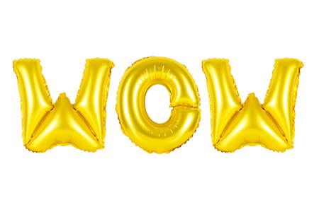 wow in english alphabet from yellow (Golden) balloons on a white background. holidays and education.