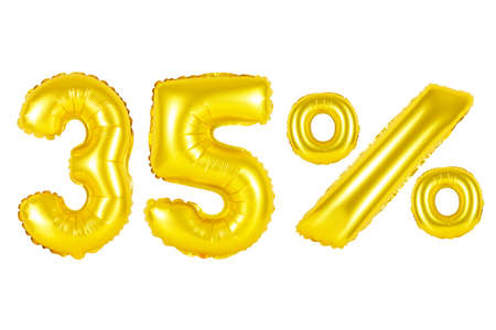 thirty five 35 percent from golden balloons on a white background. discounts and sales, holidays and education