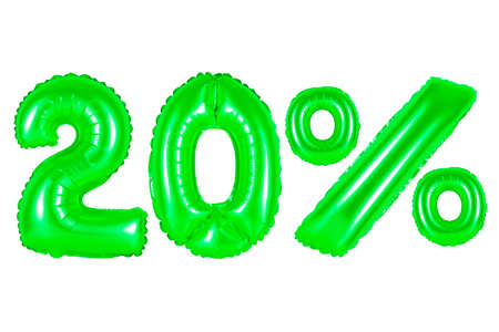 twenty 20 percent from green balloons on a white background. discounts and sales, holidays and education Stock Photo