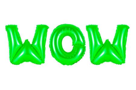 흰색 배경에 녹색 풍선에서 영어 알파벳에서 와우. 휴일 및 교육. 스톡 콘텐츠