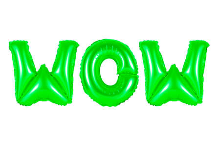 wow in english alphabet from green balloons on a white background. holidays and education.
