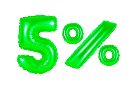 five 5 percent from green balloons on a white background. discounts and sales, holidays and education