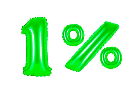 one 1 percent from green balloons on a white background. discounts and sales, holidays and education