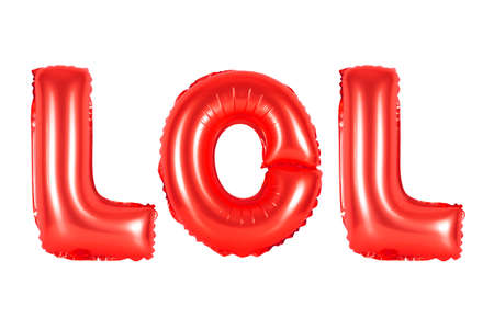 comedy: lol in english alphabet from red balloons on a white background. holidays and education.