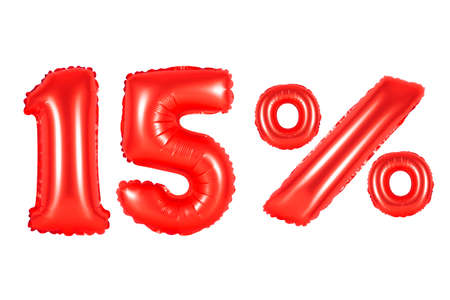 fifteen 15 percent from red balloons on a white background. discounts and sales, holidays and education Stock Photo
